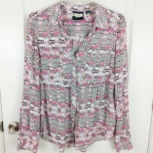 Maeve Anthropologie Pink Printed Blouse Size S